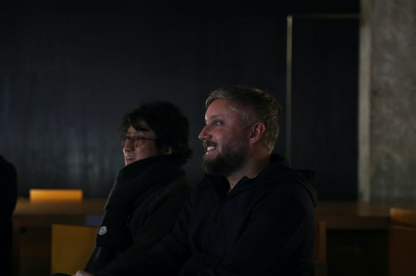 Moon Choi and designer Jason Gregory at the Makr x Moonns talk.