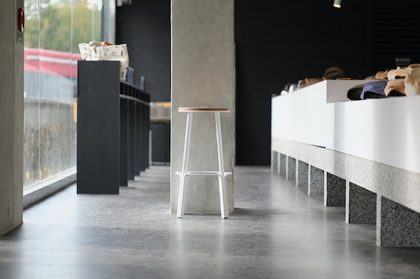 Morning light with the Makr Factory Stool at Anthracite Coffee.