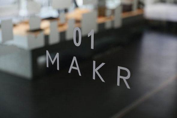 The vinyl signage of the Makr x Moonns collaboration store in Seoul.
